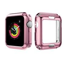 5 kolorów miękka TPU pełna ochrona Shell skrzynki pokrywa dla Apple Watch seria 3 2 1 38/42mm obudowy Protector bardzo smukły futerał dla iWatch