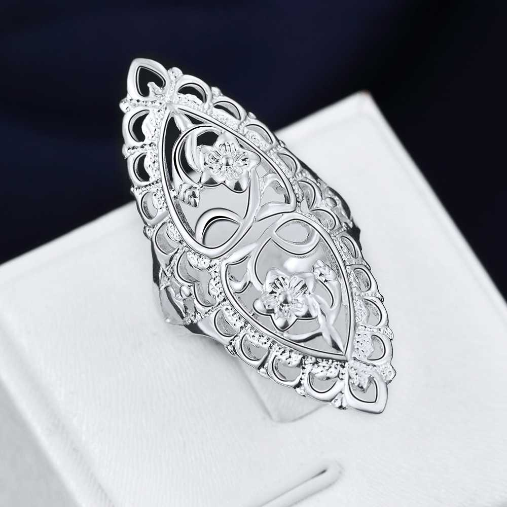 wholesale price for women girl Retro hollow ring Lovely Wedding party silver color ring Cute noble fashion classic Jewelry R698