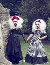 Tim Burton Wedding Gown – Black White Stripe Victorian Steampunk Dress