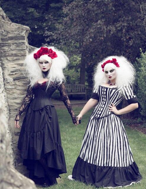 Tim Burton Wedding Gown Black White Stripe Victorian Steampunk ...