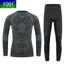 YOOY Kids Ski Thermal Underwear Sports Set Boys Skiing Sets Children Performance Sports Sets Outdoor Sport Long Shirts And Hose(China)