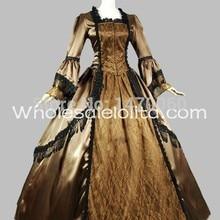 Пользовательское коричневое и Золотое сатиновое кружевное платье 18-го века Марии Антуанетты
