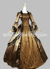 Custom  18th Century Brown & Gold Satin Lace Marie Antoinette Period Dress