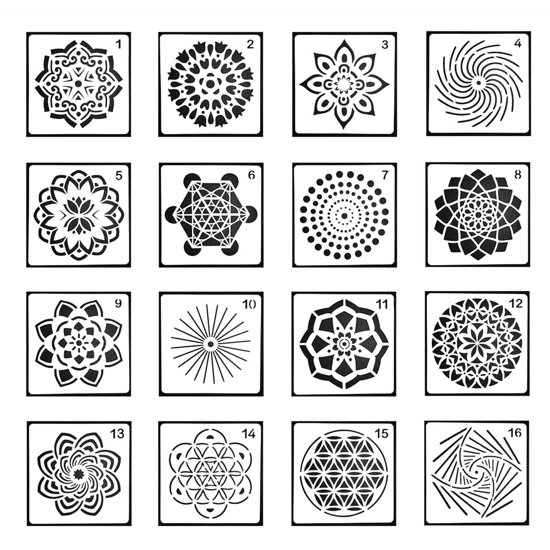 8Pcs Mandala Painting Stencil Wall Template Hollow Out Drawing Tools Crafts DIY