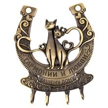Home  fixation,Wall Door Hook Hanger Keys&C room vintage Holder.Cat in pairs .Live happily together