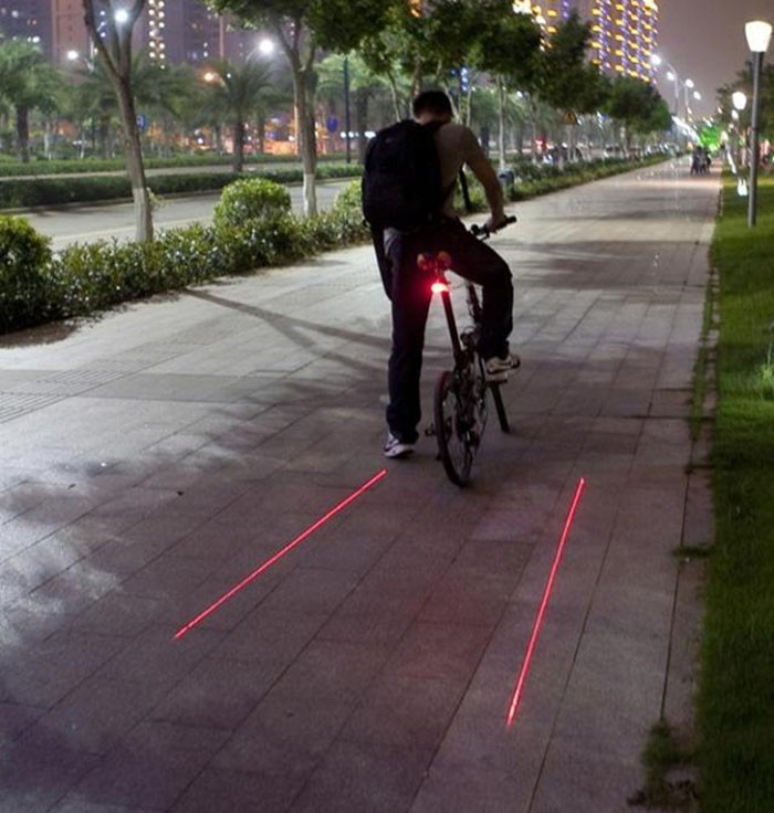 New fashion Cycling Bike Bicycle 2 Laser Projector Red Lamps Beam and 3 LED Rear Tail External parts of the car P# dropship