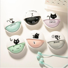 Cute creative girl cat in-ear phone remote control headset universal with cassette wheat