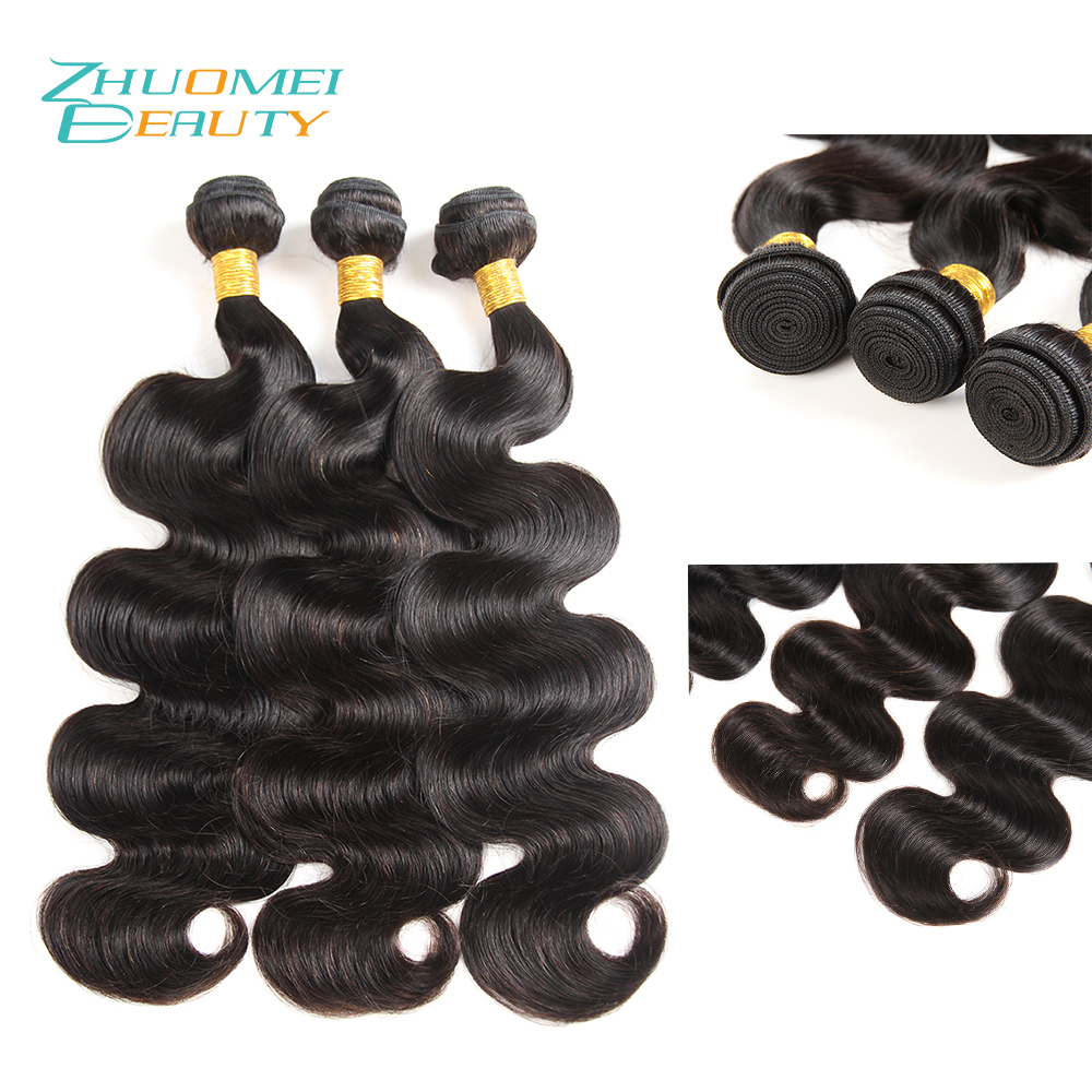 Zhuomei BEAUTY Peruvian Hair Bundles 3 Bundles Body Wave Human Hair Weave Bundles 8-28inch Remy Hair Extension Natural Color