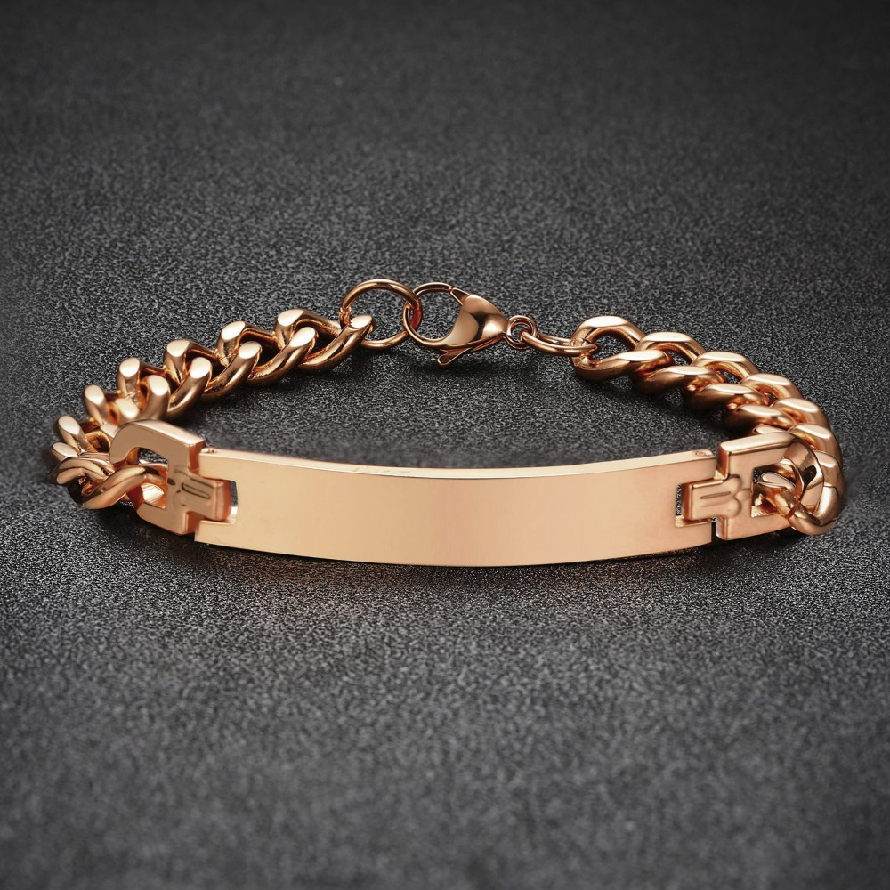 Loyaal Rose Gouden Cubaanse Chain Link Id Naam Tag Armband Rvs Graveerbare Inspiratie Vriendschap Koppels Sieraden His & Hers Tuur 100% Garantie