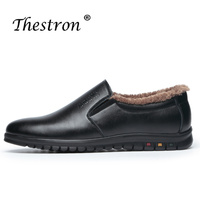 2018 Winter Warm Casual Male Shoes Slip On With Fur Office Shoes for Men Genuine Party Lazy Footwear Black Loafers Man