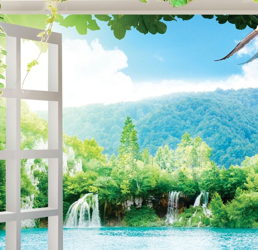 Custom 3d Mural Large Murals 3D False Window Outside The Garden Wall Wallpaper Living Room Rose Flowers Wallparers In Wallpapers From Home Improvement