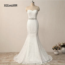 Elegant Long Lace Mermaid Wedding Dress Sexy Sweetheart Bridal Gown Backless Plus Size White Bride Dresses with Beading Belt(China)