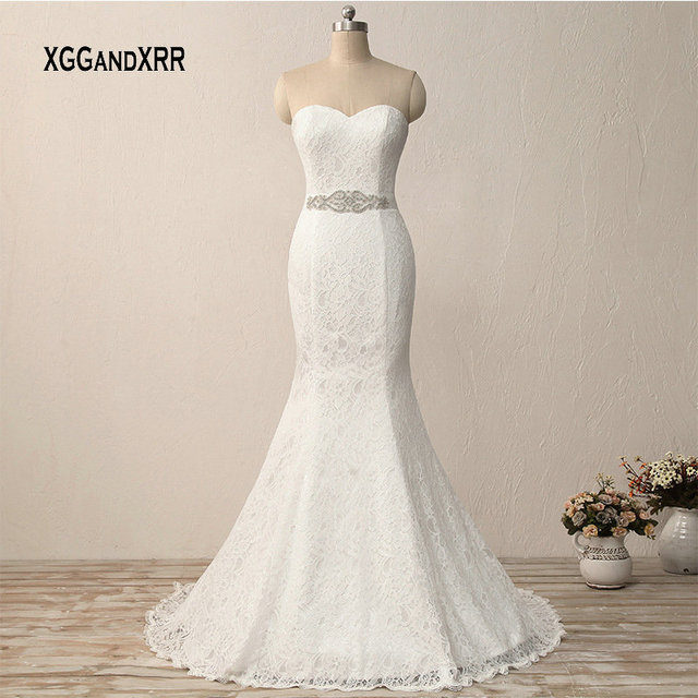 Elegant Long Lace Mermaid Wedding Dress Sexy Sweetheart Bridal Gown Backless Plus Size White Bride Dresses with Beading Belt