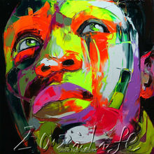 Palette knife portrait Face Oil painting christmas figure canva Hand painted Francoise Nielly wall Art picture21