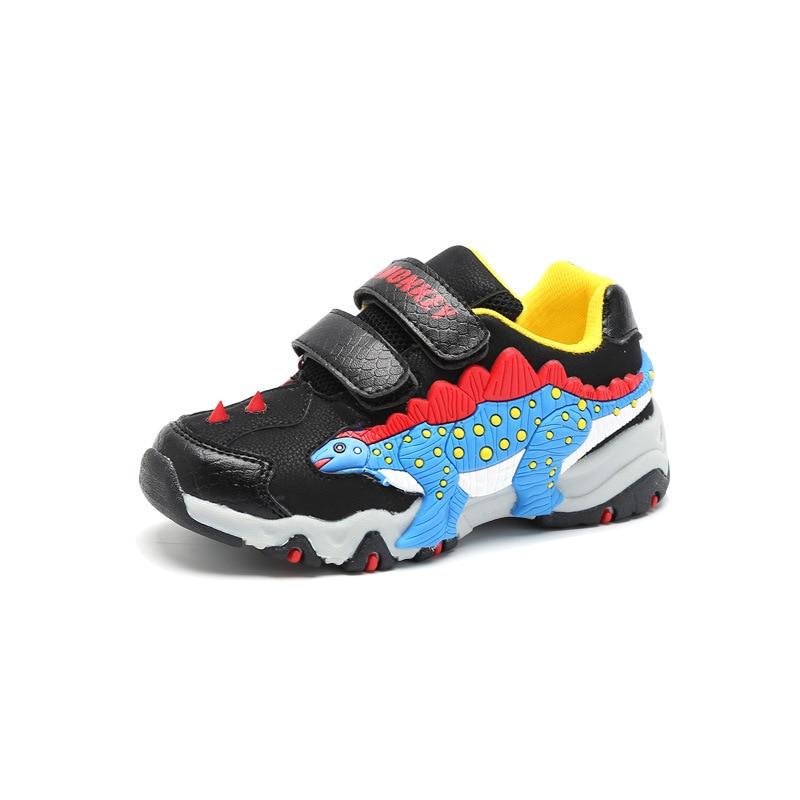 aa12e76e02942 Dinoskulls Boys Genuine Leather Luminous Sneakers Kids Glowing Sneakers  Light Up LED Shoes Boys 3D Dinosaur Flashing Sneakers