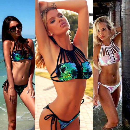 2018 New Arrival Sexy Women Sequins Lace Up Bikini Set Halter Push-up Padded Bra Traingle Swimsuit Summer Bathing Suit Swimwear summer new swimwear women sexy push up padded bra bikini set tankini triangle swimsuit bathing suit beachwear