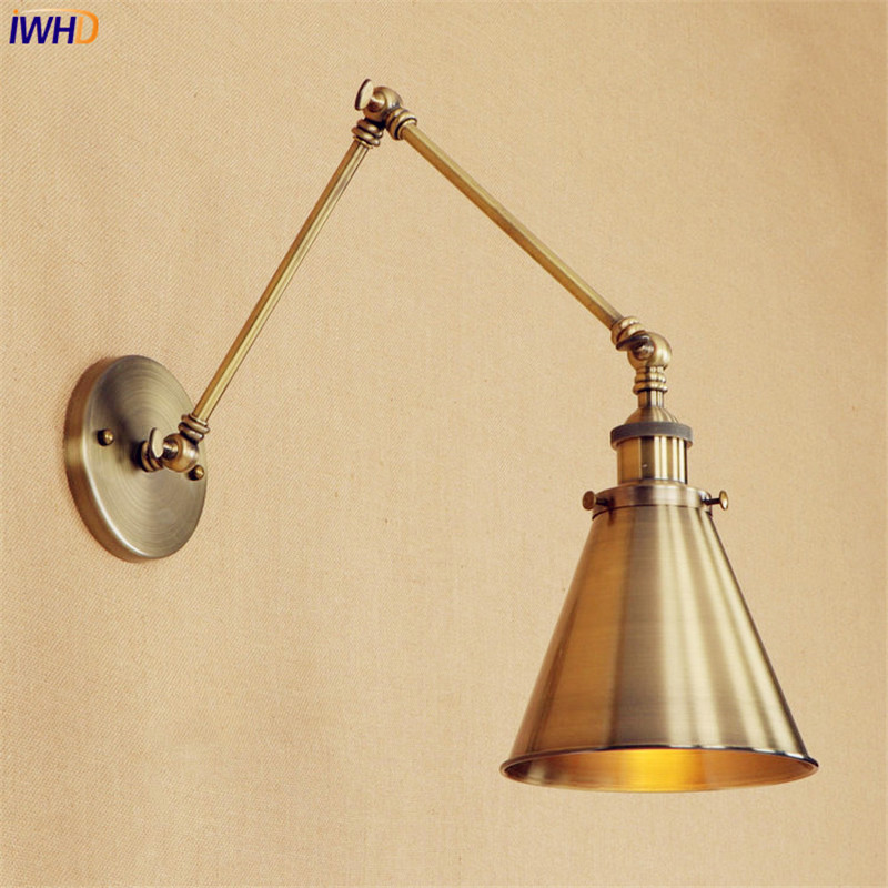 Loft Style Retro Brass Wall Lamp Vintage Brass Swing Long Arm Wall Light LED Edison Lighting