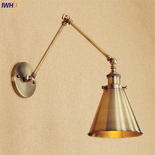 Loft Style Retro Brass Wall Lamp Vintage Brass Swing Long Arm Wall Light LED Edison Lighting Wandlampen Apliques Pared Aplike iwhd swing long arm wall light up down vintage glass wall lamp led bedroom iron wandlamp home lighting edison bulb light