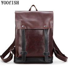 YOOFISH  High Quality Practical PU Leather Mens Backpack  Vintage  Brand Casual Men Laptop Backpack School Travel Backpack цена 2017