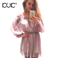 Kuk Off Shoulder Dress Chiffon Women Chic Elegant Party Evening Pink Dress Long Sleeve Clothing Summer
