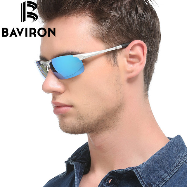 BAVIRON Semi Rimless Fishing Sunglasses Men Flat Surface Glasses Polarized Lightweight Glasses Drive Filter Rays Glasses 8177