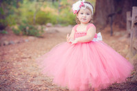 Candy Color Girls Pink Long Tutu Dress Kids Fluffy Tulle Princess Wedding Dresses With Satin Bow