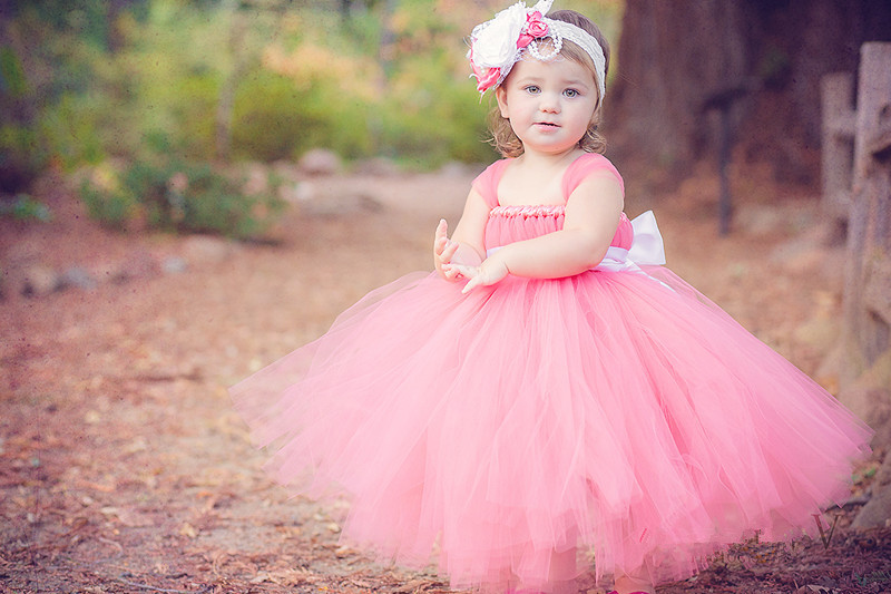 Candy Color Girls Pink Long Tutu Dress Kids Fluffy Tulle Princess Wedding Dresses with Satin Bow Waist Children Party Tutus 1Pcs