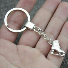 New Fashion Men Jewelry Keychain Diy Metal Holder Chain Skates 21x18x6mm 2 Colors Antique Bronze Silver Pendant Gift