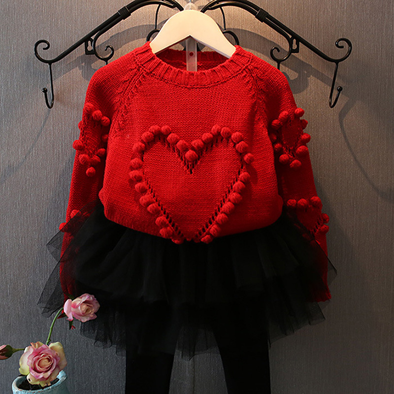 купить Girls Clothing Red Sweater Heart Knitted +Skirt Leggings 2pcs Kids Clothes Suits Fashion Boutique Clothes for Girls 2-7Years по цене 1492.55 рублей