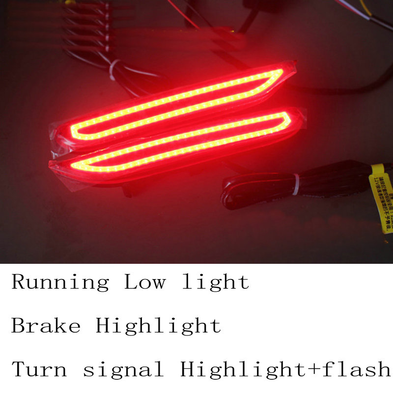 2pc/lot car-styling 3 style Rear Bumper Warning Lights Anti-rear light Brake lights Turn lights For infiniti Q50l Q60 Q70L led rear bumper warning lights car brake lamp cob running light led turn light for honda civic 2016 one pair