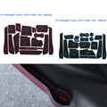 16Pcs/Set Car Styling Slot Pad Interior Door Groove Mat Latex Anti-Slip Cushion For Volkswagen Touran L 5/7 seat 2016 Dedicated