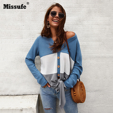 Missufe Autumn Winter Long Sleeve Knitted T Shirts Women Button Bow Tie 2019 Casual Tops Patchwork Cardigan Tee Shirts Female недорого