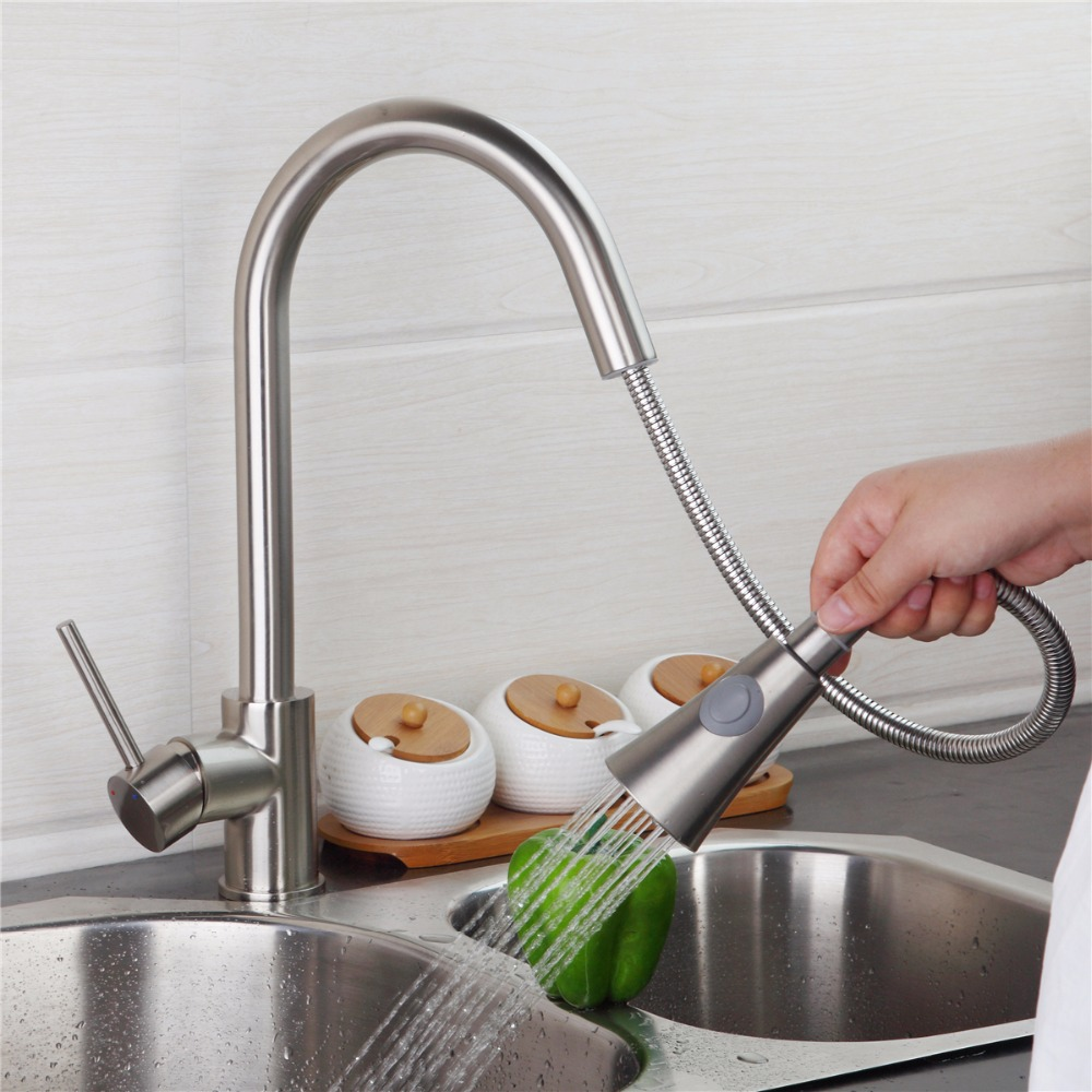 Nickel Brushed Finish Solid Brass Pull Out Swivel Sprayer Kitchen Faucet Sink Mixer Faucet Water Taps