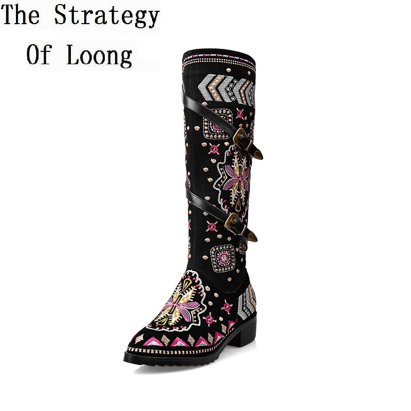 Women Autumn Winter Low Heel Full Grain Leather Flock Side Zipper Buckle Embroidery Knee High Boots Plus Size 41 42 43 Big Size high quality full grain leather and pu mixed colors boots size 40 41 42 43 44 zipper design lace up decoration round toe boots