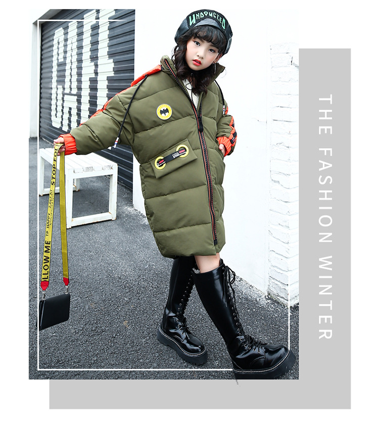 2017 Girls Long Padded Cotton Jacket Children Winter Coat Kids Warm Thickening Coats For Teenage Outwear 2018 new girls long padded jacket children winter coat kids warm thickening down coats for kids outwear leisure parka kid jacket