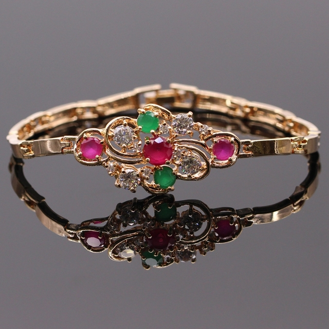 Classic Style Gold Plated Lab-created Ruby&Emerald AAA Zircon  Bracelets Bangles Fashion Jewelry  D05-1
