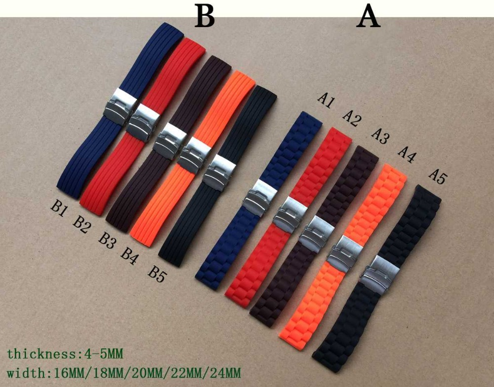 50pcs 16mm,18mm, 20mm, 22mm, 24mm 5 colors New Silicone Rubber Watch Strap Band Deployment Buckle Waterproof BLack Watchband black blue gray red 18mm 20mm 22mm waterproof silicone watchband replacement sport ourdoor with pin buckle diving rubber strap