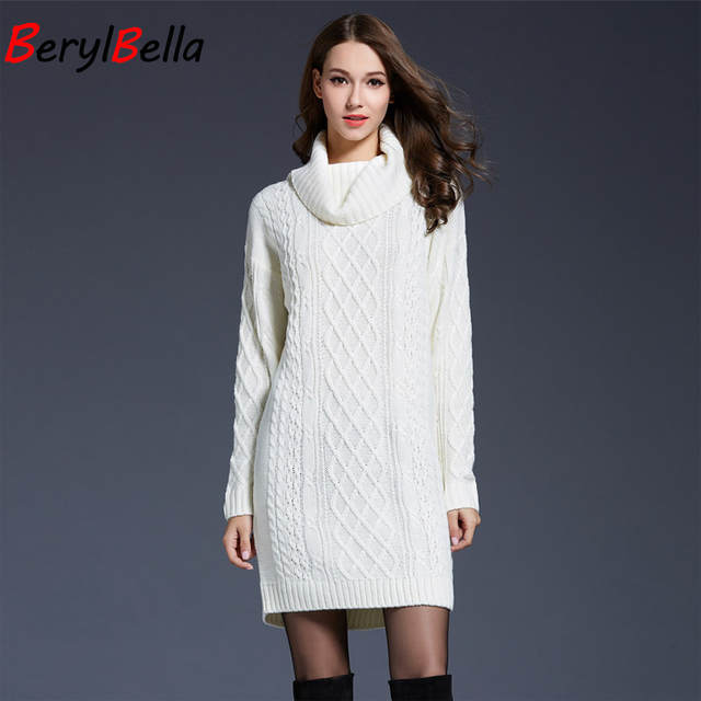 be4056848ff placeholder BerylBella Women Sweaters Pullovers Turtleneck Long Sleeve  Sweater Dress 2018 Winter Knitting Women s White Warm Sweater