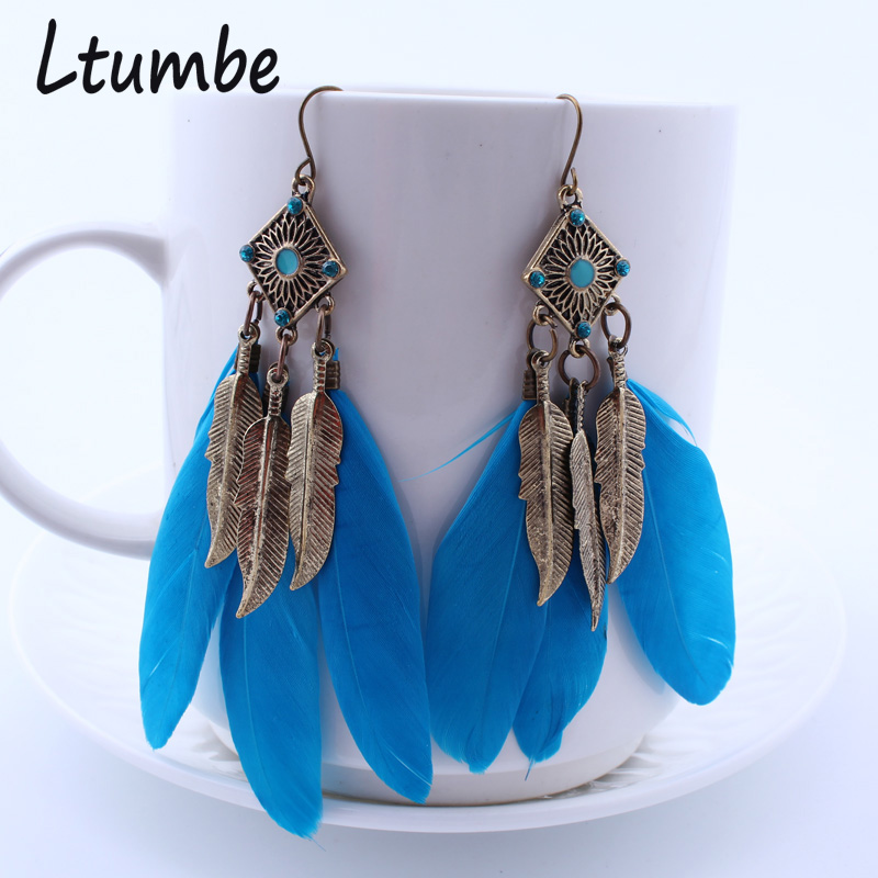 Ltumbe Vintage Big Feather Earrings for Women Charm Jewelry Boho Feather Leaves Tassel Dangle Earrings Tribal Accessories Bijoux