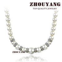 Top Quality ZYN450 Imitation Pearl Wedding Jewellery Silver Color Necklace Pendant Made with Austria Crystal Wholesale