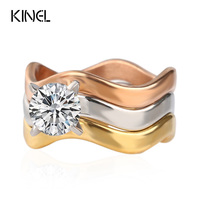LY Vintage Jewelry Luxury CZ Diamond Stainless Steel Rings For Women 3 PCS Sets Rose Gold