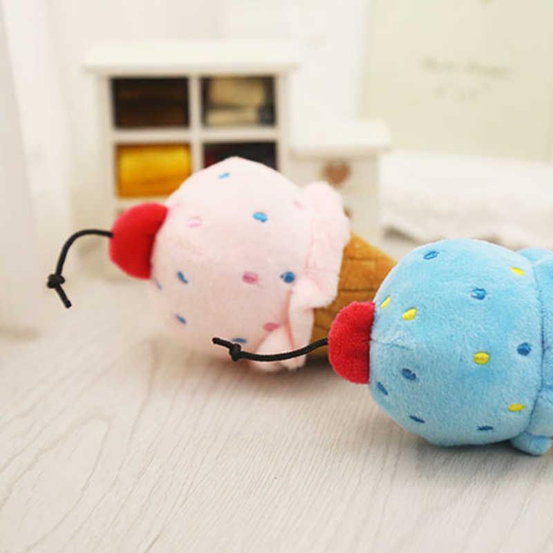 2 pièces Pet chien chiot en peluche couinement jouets propre dent mâcher glace crème sonore jouets