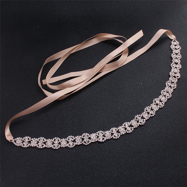 Jonnafe Rose Gold Color Women Prom Dress Waist Sash Rhinestone Bridal Headband Belt Wedding Accessories