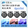 4 pcs/54*3 w rgbw led par luz par controle dmx led profissional equipamento de iluminação de palco dj luzes
