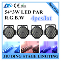 4pcs / 54 * 3W RGBW LED Par light DMX control par LED professional stage lighting equipment DJ lights