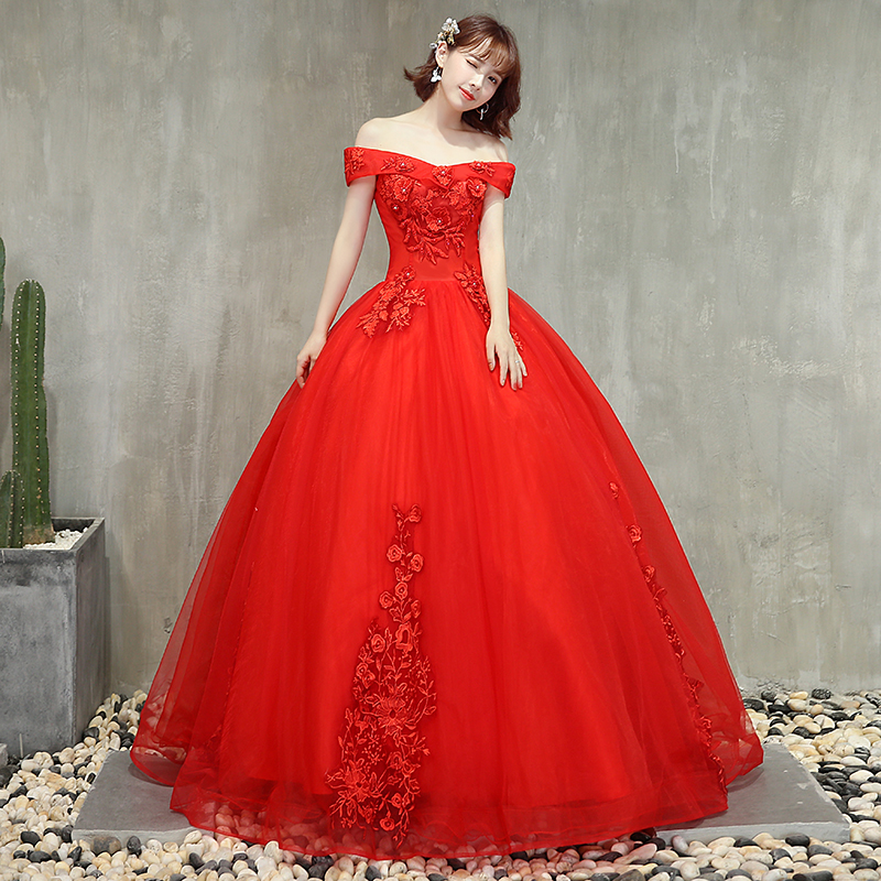 OPZC 2018 New Arrival Red Robe De Soiree 3D stereoscopic Flowers Prom Dress  Boat Neck Party Gowns Lace Ball Evening dress-in Evening Dresses from  Weddings ... 60faefde8192
