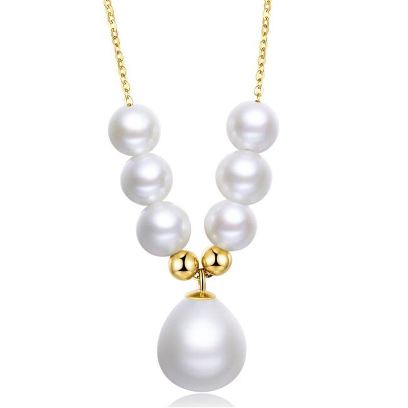 цена на 18K Yellow Gold Natural 5-5.50mm Cultured Freshwater Pearl Waterdrop Shape Pendant Necklace Women Wedding O Chain Link Necklace