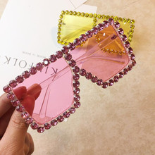 Oversize Sunglasses Women Luxury Rhinestone Square Yellow Pink Vintage  Crystal Shades for women Gradient Eyewear