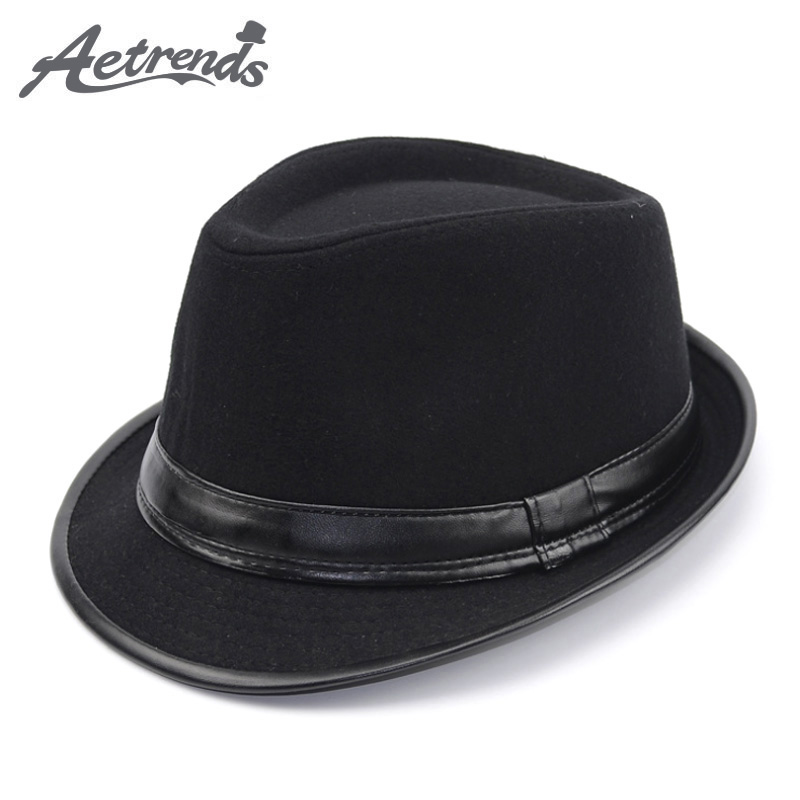 [AETRENDS] 2017 Անգլիայի ոճը Fedora Jazz Hat Men Vintage Wool Felt Winter Hat Panama Cap Z-5312