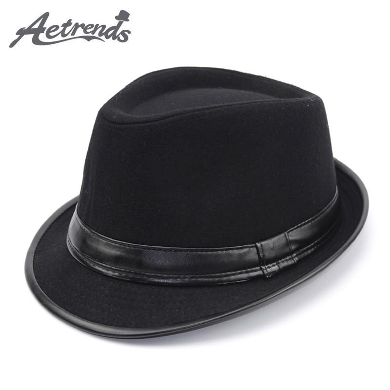 [AETRENDS] England Style Fedora Jazz Hat Men Vintage Wool Felt Winter Hat Panama Cap Z-5312